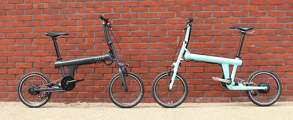 Flit lightweight folding ebike - flit-16 in marengo grey and maya blue